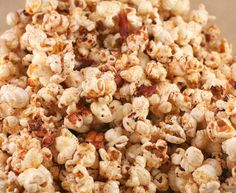 Bacon Popcorn?  Yep.  How about a giant bowl of this in front of the big game? Slightly sweet, perfectly salty with the amazing flavor of crispy bacon.