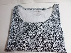 White Stag Women's Knit Top Long Sleeves Black and White Pattern NWOT Size #WhiteStag #KnitTop #Career