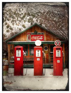 Coca Cola Sign and Red Gas Pumps ... Hubster SOOOOO wants a life sized gas pump with the glass globe on top!