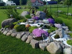 "The alpinarium (second name is «rock garden"") is a popular element of landscape design; it is made from stone and unpretentious rock plants. The rock garden can Landscaping With Rocks, Front Yard Landscaping, Backyard Landscaping, Landscaping Ideas, Backyard Ideas, Rock Garden Design, Garden Landscape Design, Yard Design, Landscape Edging"