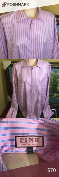 2 PINK DRESS SHIRT 100% COTTON BY THOMAS PINK 2 Beautiful long sleeve French cuff shirt  Shirt 100% Cotton by Thomas Pink Jermyn Street LONDON excellent condition look like new PINK Shirts Tees - Long Sleeve