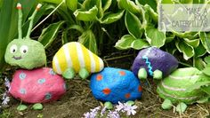 DIY:  How to make a rock caterpillar for   the garden.  Great project to get the kids to help with.