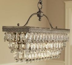 Clarissa Glass Drop Rectangular Chandelier by Pottery Barn - I've used this chandelier for clients, and it adds the perfect amount of glam to a dining room! Pottery Barn Chandelier, Bronze Chandelier, Chandelier Lighting, Vintage Chandelier, Pottery Barn Lighting, Antique Lighting, Glass Chandelier, Exeter, Home Design