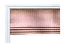 Red Ticking Flat Roman Shade Valence/Couture Roman Shade/ Custom Sizing/ Your Choice of Fabrics