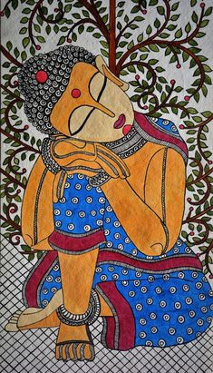 madhubani art Madhubani Painting buddha on Handmade Paper with Acrylic Paint Kerala Mural Painting, Buddha Painting, Indian Art Paintings, Madhubani Painting, Buddha Drawing, Kalamkari Painting, Ganesha Painting, Ganesha Art, Buddha Kunst