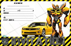 2 birthday invitations transformers to print. One with Optimus Prime and the other with Blumbleblee and his magnificent yellow camaro. The invitation of Opti by Birthday Cards For Boys, Boy Birthday Parties, 4th Birthday, Transformers 5, Optimus Prime, Yellow Camaro, Rescue Bots Birthday, Invitation Fete, Transformers Birthday Parties