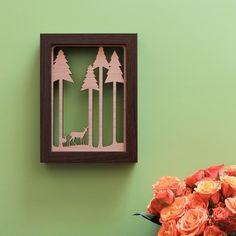Deer in the Forest  Wood Wall Art by peppersprouts on Etsy, $25.00