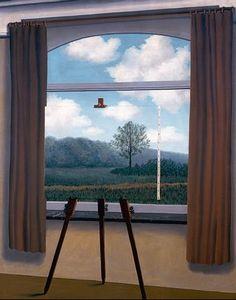"""La condición humana - Ante una ventana vista desde el interior de una habitación, he colocado un cuadro que representa exactamente la parte del paisaje escondida por la pintura. Así es como vemos el mundo. Lo vemos fuera de nosotros mismos y a la vez en nuestro interior sólo tenemos una representación"""", escribió Magritte acerca de este cuadro, en el que se nos pregunta acerca de la realidad y nuestra comprensión de ambas."""