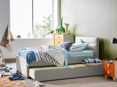 Paddington King Single Bed Frame with Trundle (Oatmeal). Get it now at your nearest Snooze store, your one-stop destination for bedding, bedroom furniture