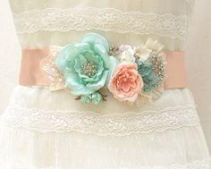 Bridal Sash-Wedding Sash In Vintage Pink, Mint  And Ivory,  Pearls, Lace ,Crystals, Wedding Dress Sash, Bridal Belt,