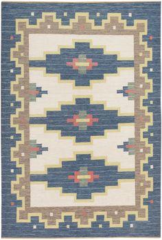 Mid Century Vintage Flat Weave Swedish Kilim 46850
