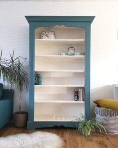 Items similar to SOLD**SOLD**SOLD***Painted vintage pine bookcase display cabinet on Etsy – Home Office Design Vintage Recycled Furniture, Refurbished Furniture, Colorful Furniture, Paint Furniture, Furniture Projects, Furniture Makeover, Refurbished Bookcase, Furniture Design, Dresser Makeovers