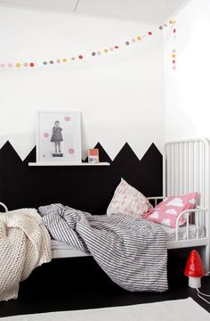 Half Painted Zigzag Walls in little girls room - love the monochrome and pink, chic and cute