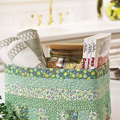 Love to keep kitchen and bath areas neat and tidy? Create a fabulous  clutter-busting fabric container color-coordinated with your decor.