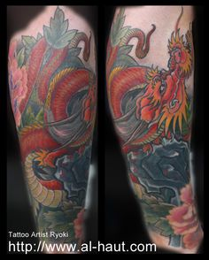 Dragon tattoo. Cover up an old tattoo by rock
