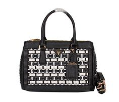 Prada Weave Leather Tote Bag BN3292 Black&White - $269.00