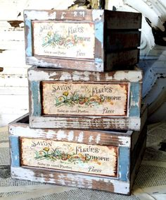 Flower Market Crates (Set of from save-on-crafts, an awesome website full of neat vintage things! Decoration Shabby, Shabby Chic Decor, French Flowers, Save On Crafts, Vintage Box, Vintage Crates, Vintage Style, Vintage Beauty, Wooden Crates