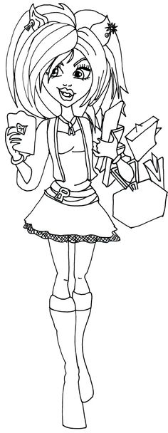 a coloring page of clawdeen in her new scaremester clothes from ...