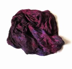 OOAK Silk Scarf thin ruffled Hand Dyed Queen of by Econicashop