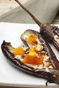 This is one of the best and easiest ways to serve eggplant with tahini topped on the roasted eggplant.