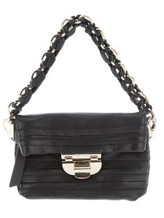 """AUTH NWT NINA RICCI MINI LEATHER PATCH WORK LIANE MINI POCHETTE     100% AUTHENTIC    Tiered leather flap front evening bag with gold-tone metal hinge closure and chain link shoulder strap.     Smooth lined interior with zipper pocket and main fold-over compartment.     5"""" height x 7"""" width x 3"""" ..."""