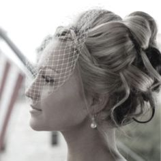 love this updo @Brandy Waterfall Waterfall Waterfall Busby Stringer Manor House  #BMHbride ; wedding photos ; bridal hair ; bridal updo ; updo ; birdcage veil
