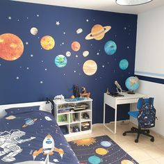 Bedroom Themes, Kids Bedroom, Space Theme Bedroom, Bedroom Designs, Bedroom Ideas, Wall Stickers Space, Solar System Room, Outer Space Bedroom, Baby Room Decor
