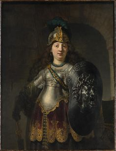 Bellona  Rembrandt (Rembrandt van Rijn)  (Dutch, Leiden 1606–1669 Amsterdam)    Date:      1633  Medium:      Oil on canvas  Dimensions:      50 x 38 3/8 in. (127 x 97.5 cm)  Classification:      Paintings  Credit Line:      The Friedsam Collection, Bequest of Michael Friedsam, 1931  Accession Number:      32.100.23    This artwork is currently on display in Gallery 615
