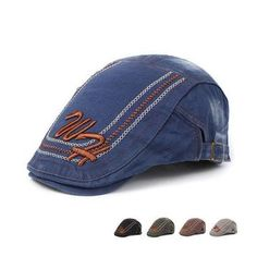 8ae80644b70be Mens Letter Embroidery Beret Hat Adjustable Sunshade Peaked Forward Duck  Cap Flache Schnürschuhe