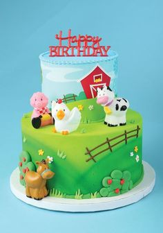 Farm Animals Cake Topper and 24 Cupcake Toppers Farm Animal Birthday, 1st Boy Birthday, Farm Animal Cakes, Farm Animals, Farm Party Decorations, Farm Cake, Bakery Cakes, Unique Cakes, Love Cake