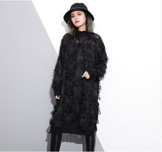 This+high+street+style+dress+is+phenomenal.++The+fringe.+The+sequins.+The+construction.+Totally+a+legit+eccentric+item!    -+Composed+of+Polyester+and+mesh  -++Mid-calf,+O-neck,+Tassel,+Loose,+one+size.