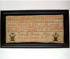 Antique American 1850 Michigan Schoolgirl Folk Art Sampler For Sale