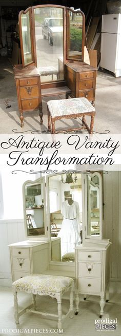 An Antique Vanity Transformation by Prodigal Pieces www.prodigalpieces.com #prodigalpieces  >>> Personally I think the original wood is gorgeous and should not have been painted.