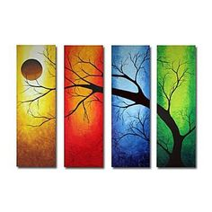 4 Pieces Abstract Tree Landscape Oil Painting Hand Painted On Canvas Group Pictures For Home Decor Three Canvas Painting, Multiple Canvas Paintings, Canvas Artwork, Painting Frames, Oil Pastel Art, Kunst Poster, Painting Inspiration, Style Inspiration, Art Pictures