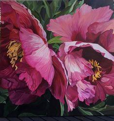 """Odette"", tree peony, 40x40, acrylic, Jenny Fusca"