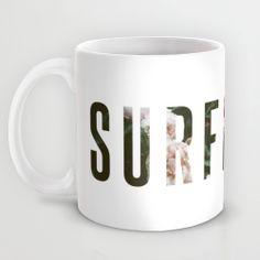 Floral SURFBOARD Mug, designed by @Ana-Bela Bernardo Alonzo-Gonzalez / fieldguided on Society6.