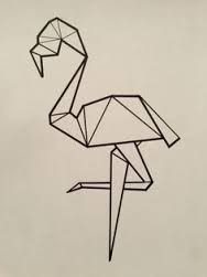 Ideas for origami drawing illustrations geometric animal Origami Tattoo, Geometric Drawing, Geometric Shapes, Geometric Animal, Geometric Elephant, Wall Drawing, Art Drawings, Flamingo Tattoo, Tape Wall