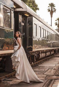 bhldn 2018 away bridal sleeveless scoop neckline simple clean bodice satin skirt classic ball gown a line wedding dress scoop back chapel train (3) sdv