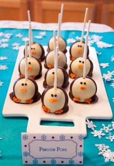 Penguin Pops (cake pops) for a Winter ONEderland first birthday party