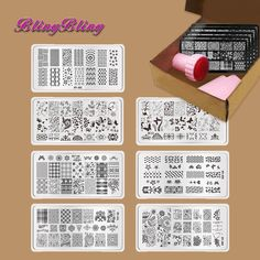 7pcs DIY Manicure Template Nail Stamp Plates Image Nails Art Design Stamping Plate Scraper Stamper Kits Lace Floral Butterfly