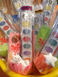 Love the idea of water color party favors.