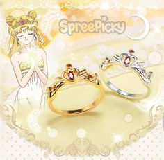 Golden/Silvery Sailor Moon Serenity Royal Crown Ring SP168597