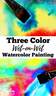 Three color wet-on-wet watercolor painting is a simple art activity to help young children learn about and experience color. It is a process art paint technique taught in Waldorf education in schools and homes all over the world. When finished your beautiful creations can be made into cards and other crafts. Perfect for homeschoolers!