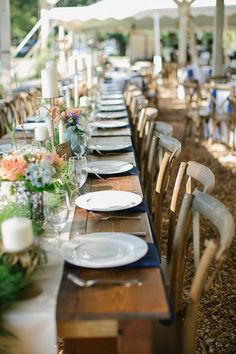 washingtongrassweddings.com - Chloe Giancola Photography - Peach, cream, and navy wedding reception with farm tables and crossback vineyard chairs.