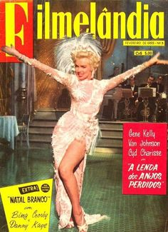"""Filmelandia - February, magazine from Brazil. Front cover of Marilyn Monroe in a scene from """"There's No Business Like Show Business"""", 1954."""