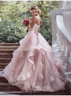 Unique Prom Dresses, Tiers Ruffle Sweetheart Blushing Pink Sleeveless Organza Backless Wedding Dresses, There are long prom gowns and knee-length 2020 prom dresses in this collection that create an elegant and glamorous look Pink Wedding Dresses, Bridal Dresses, Dress Wedding, Lace Wedding, Elegant Wedding, Wedding Ceremony, Quirky Wedding Dress, Trendy Wedding, Mermaid Wedding