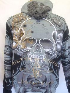 Christian Audigier Mens Full Zip Hoodie Skull Rhinestones Gold Lining size L