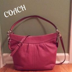 """Coach Ashley Leather Cross-Body Hobo Tote/Purse GORGEOUS Coach. Soft leather and a beautiful Rose Pink color called """"Ginger Beet"""". Zip top closure with long leather pull. Silver polished nickel hardware and hang tag. This is a large style purse with shoulder strap w/9"""" drop, also adjustable/ removable shoulder crossbody strap. Pleated front w/ """"Coach"""" embossed in the leather. Interior is in impeccable condition w/ 1 zip pocket and 2 slip pockets, tan fabric. Plz note bottom right corner pic…"""
