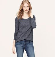 Striped Layering Tee - Styled with a just-right hem, this soft slubbed cotton essential is beyond versatile. Scoop neck. Long sleeves. Banded neckline, cuffs and hem.