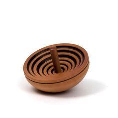 Natural tones wood spinning top